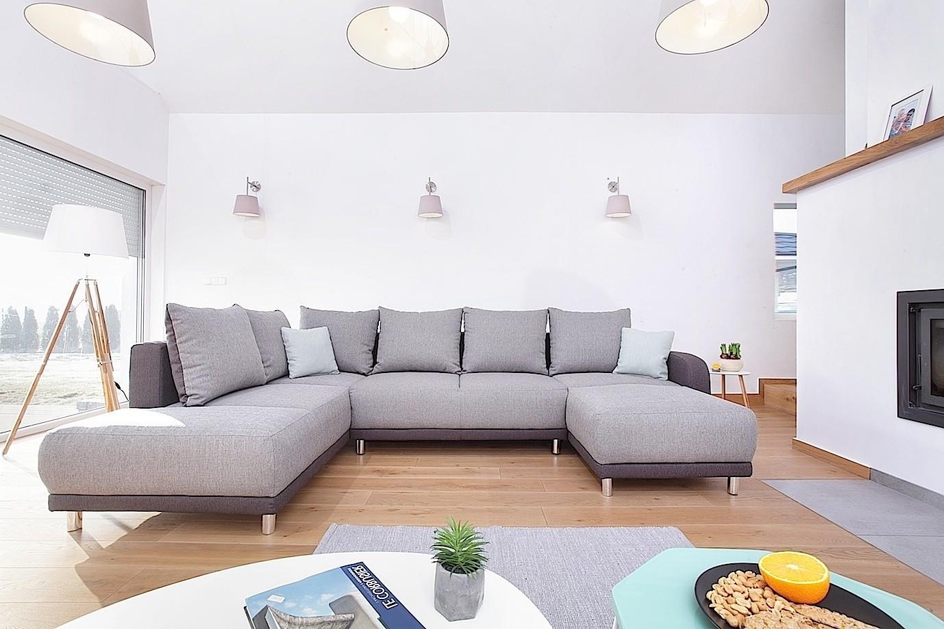Canapé d angle convertible gauche gris clair et anthracite