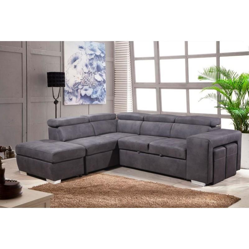 Canapé d angle convertible gauche gris VEGAS