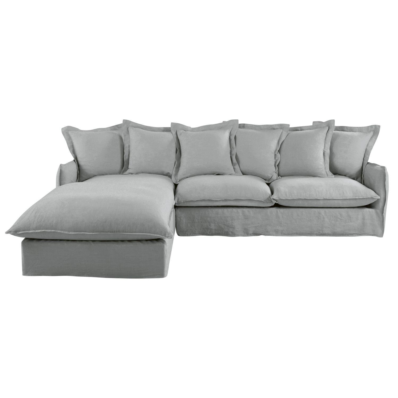 Canapé d angle gauche convertible 6 places en lin lavé