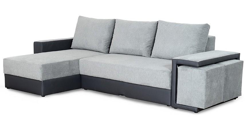 Canapé d angle gauche convertible avec coffre et poufs