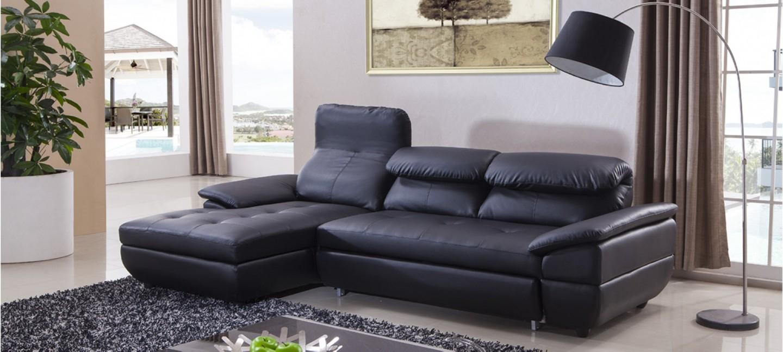 Canapé d angle gauche convertible cuir noir Mezzio