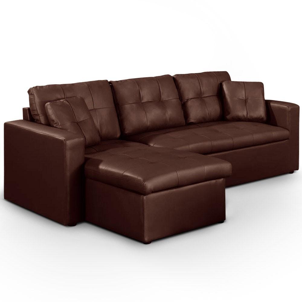 Canapé d angle gauche convertible Marron