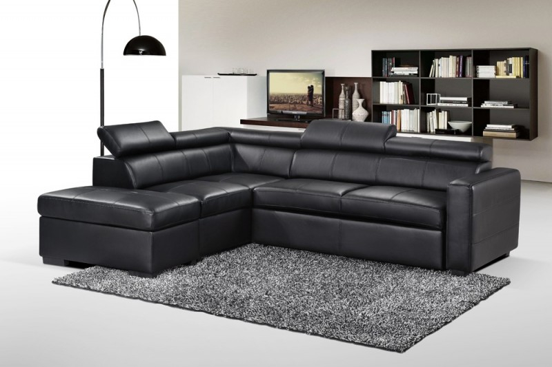 Canapé d angle gauche convertible Simili Noir Hastings