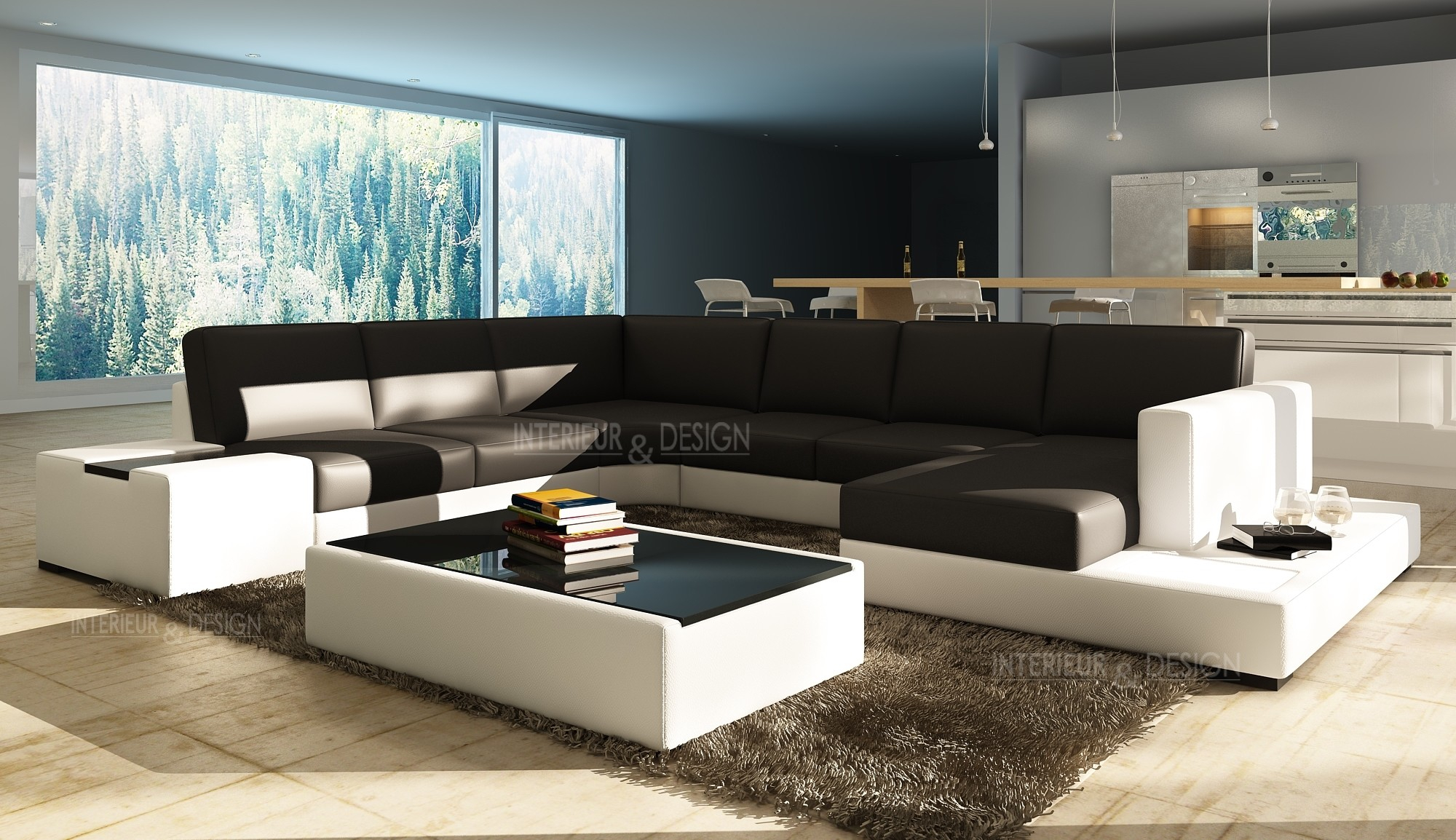 Canapé angle en cuir vachette blanc