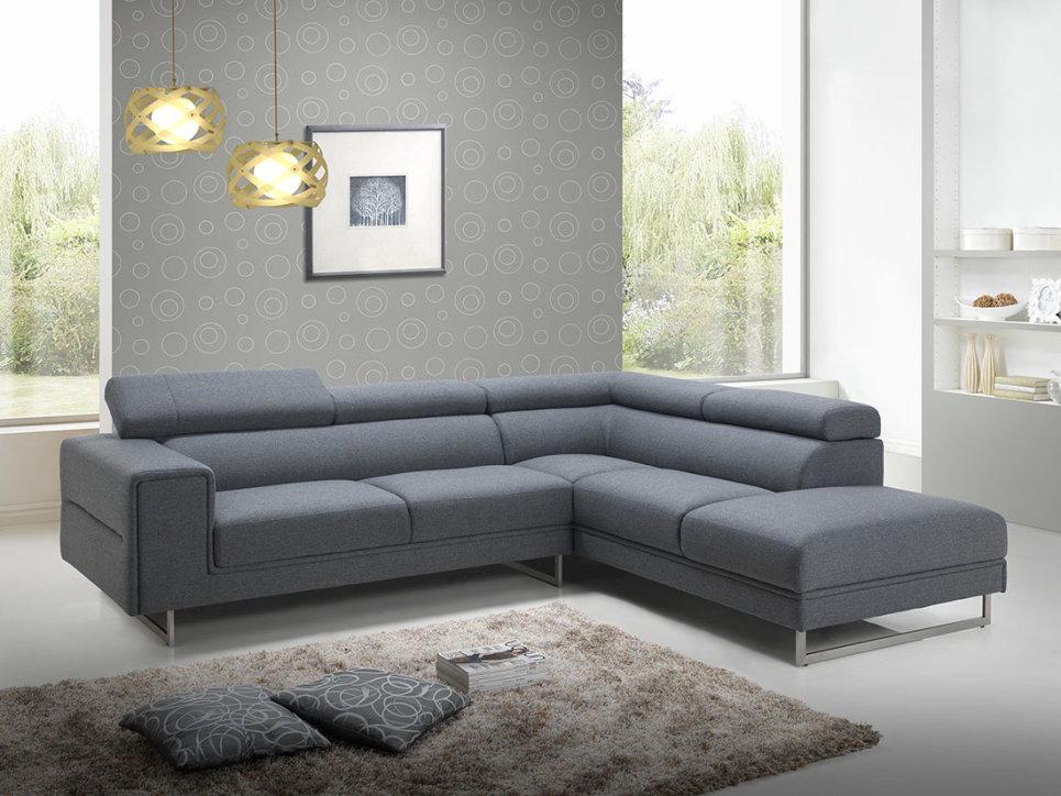 Canapé d angle design en tissu gris avec tétières 280 cm