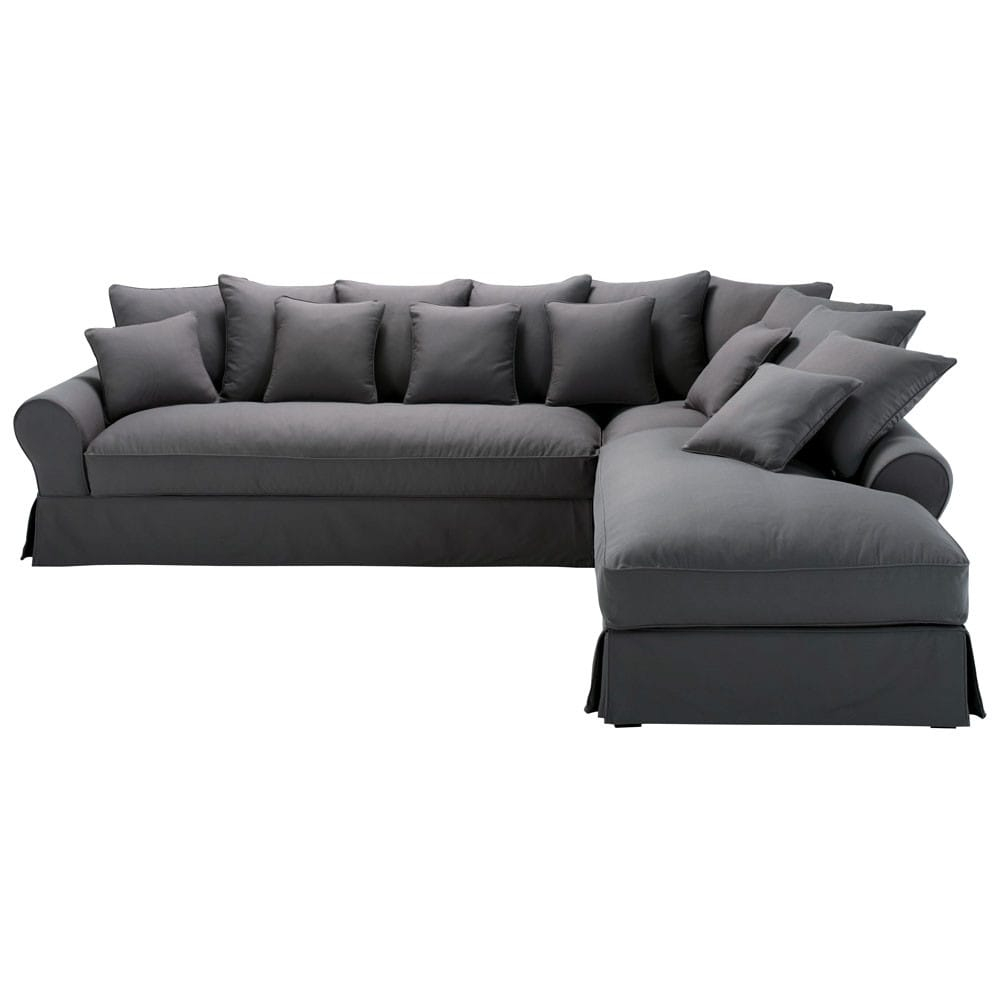 Canapé d angle droit 6 places en coton gris ardoise