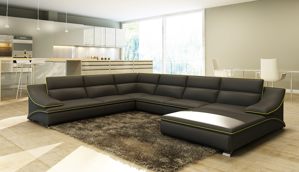 Divani Casa 5076 Black Leather Sectional Sofa