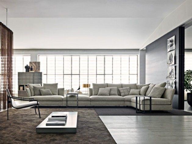 Très grand canapé d angle en tissu gris clair