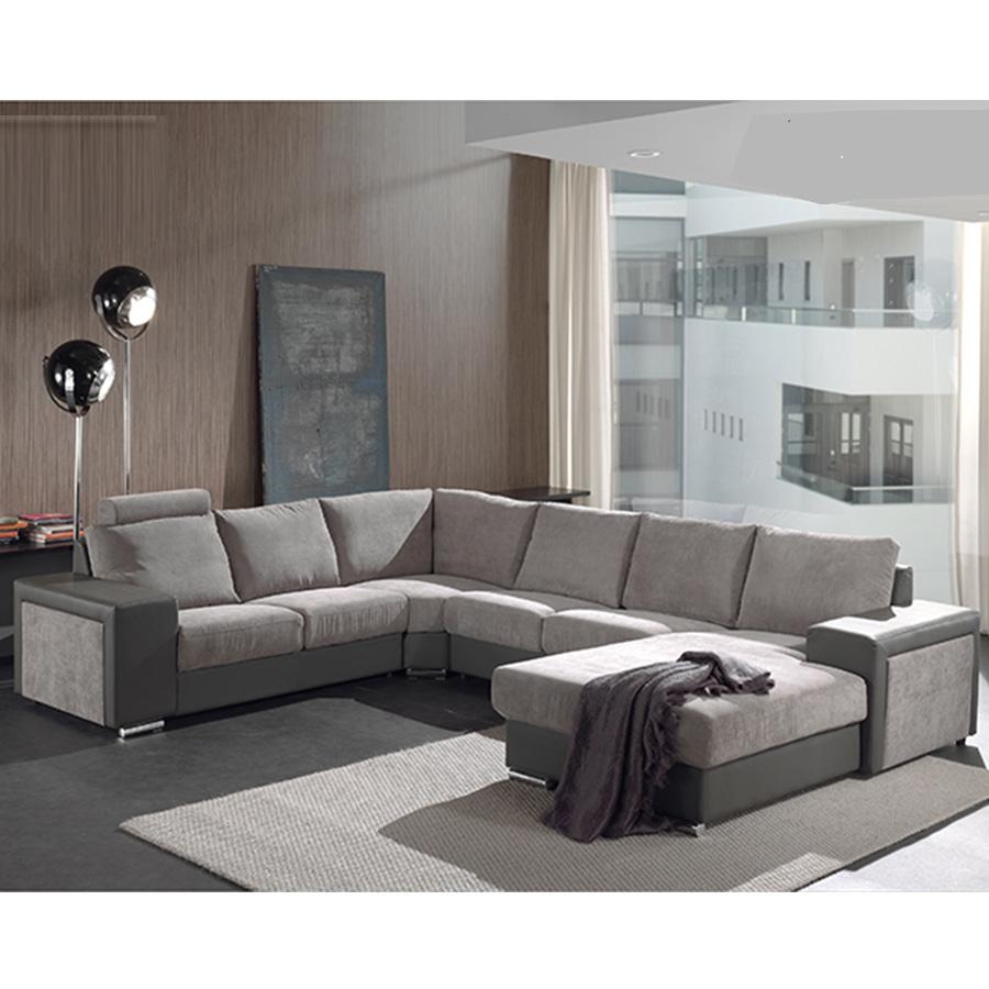 Canapé panoramique gris en tissu