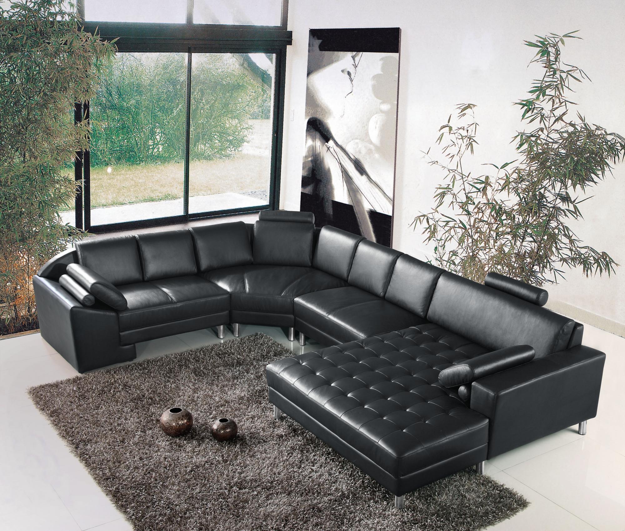 DECO IN PARIS Canape d angle panoramique en cuir noir