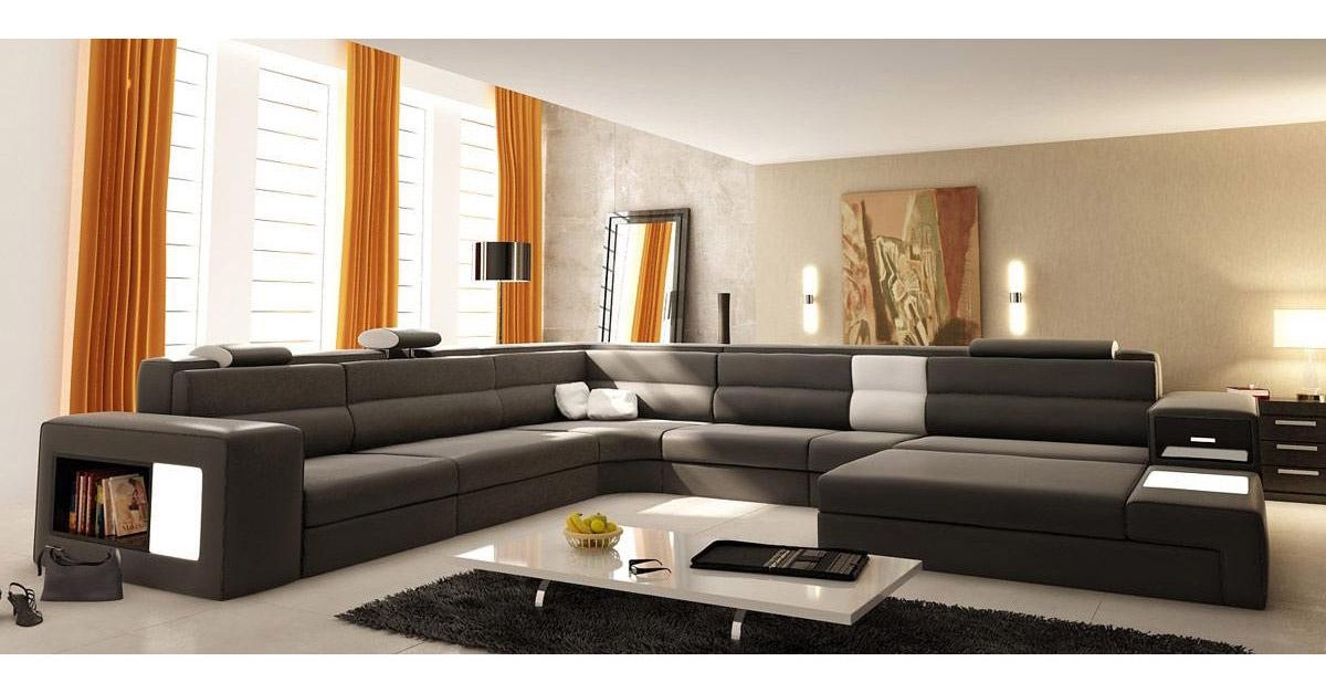 DECO IN PARIS Canape panoramique cuir gris angle droit