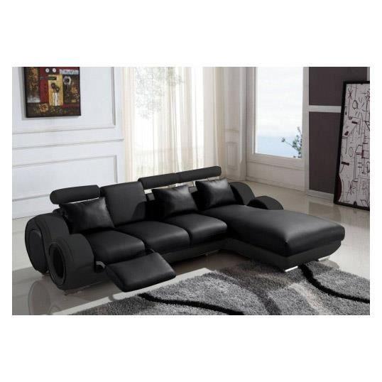 Canapé D Angle Relax Canapé D Angle Cuir Relax Design Noir Vilnus Achat