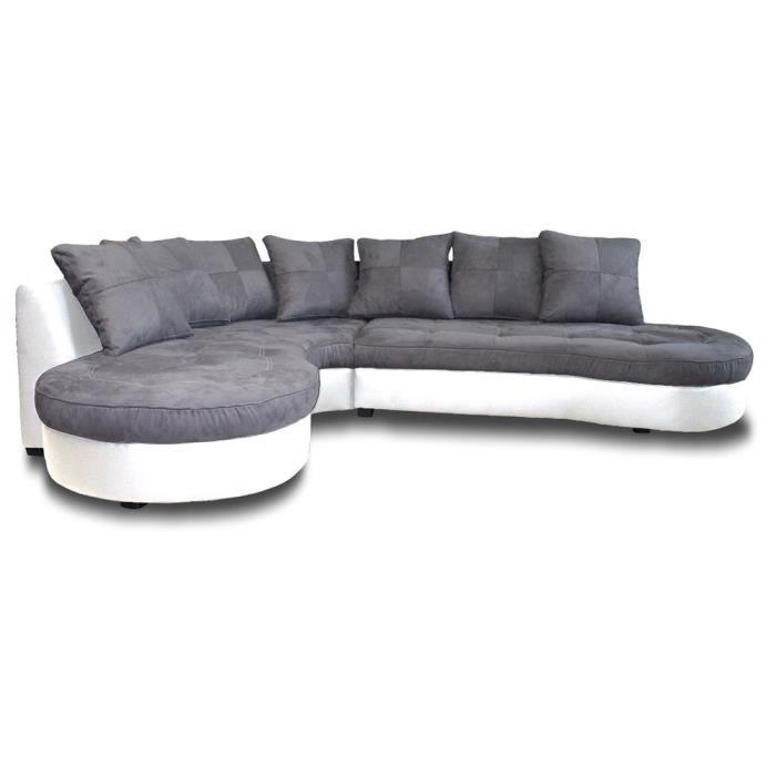 Canapé d angle bimatière STEPHANE Bicolore Bl… Achat