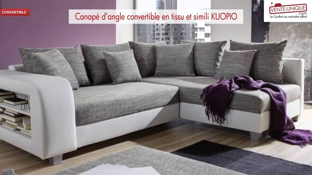 Canapé d angle convertible en tissu et simili KUOPIO