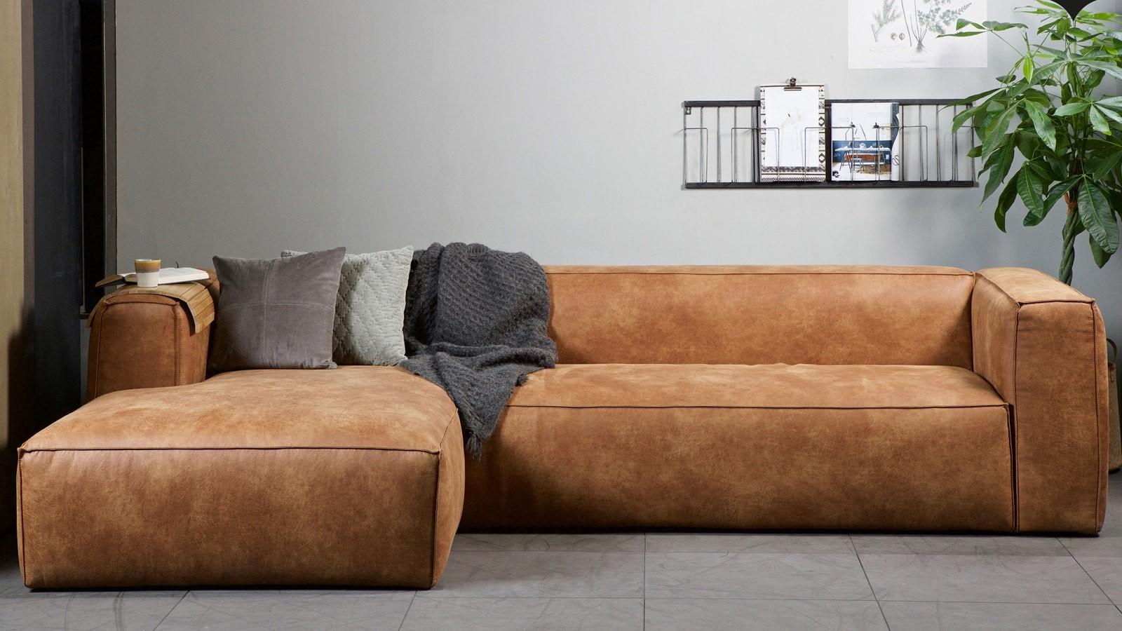 Canapé d angle gauche en cuir vintage Collection Bean
