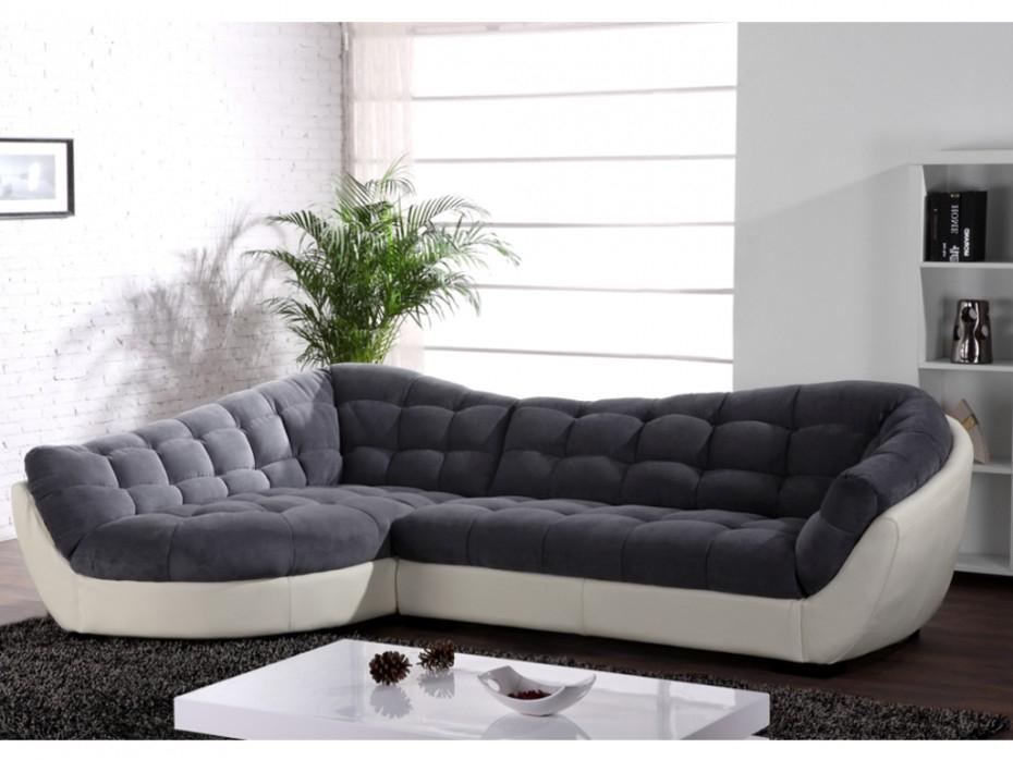 Canapé d angle gauche tissu et cuir Gris blanc LEANDRO