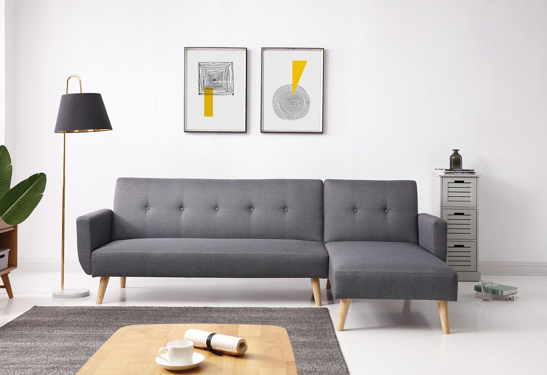 Canapé d angle convertible style scandinave gris avec
