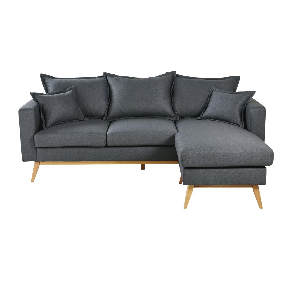 Canapé d angle style scandinave 4 5 places gris ardoise