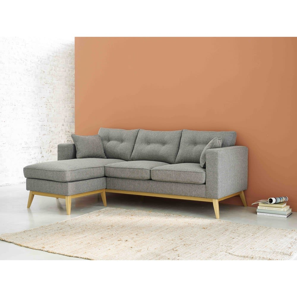 Canapé d angle style scandinave 4 5 places gris clair
