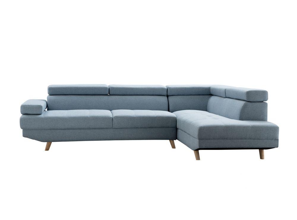 canapé d angle style scandinave pieds bois avec revêtement