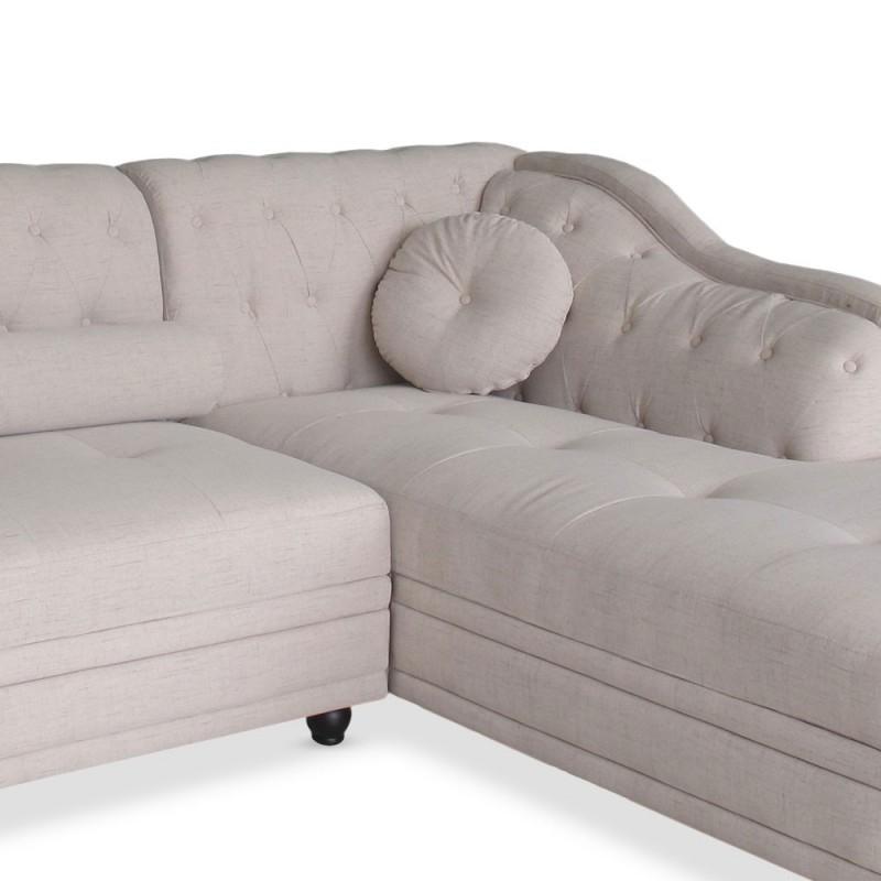 Canapé Chesterfield d angle en tissu beige pas cher