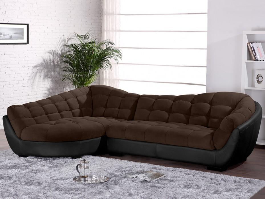 Canapé d angle droit tissu et cuir LEANDRO Canapé Vente
