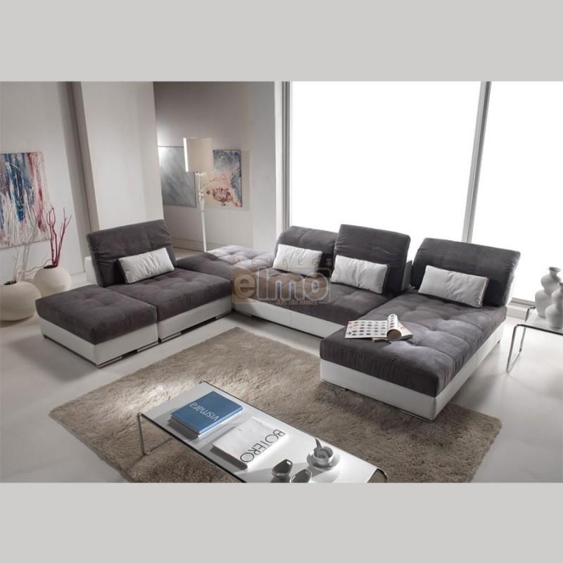 Canapé modulable canapé d angle tissu marron noir blanc