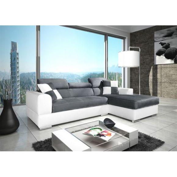MEUBLESLINE Canapé d angle 4 places NETO design gris et