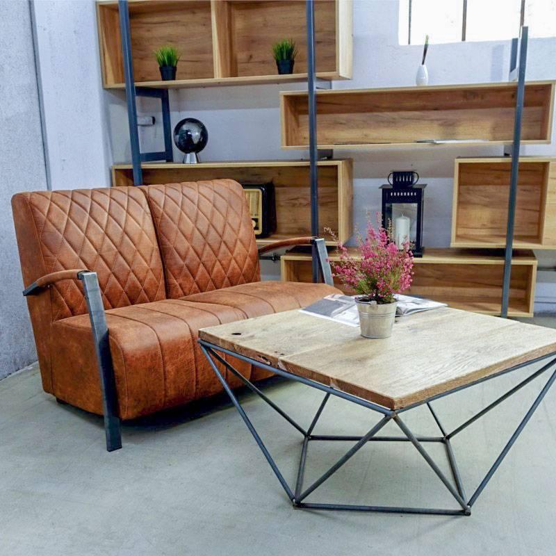 Canapé 2 places en cuir de style industriel et vintage