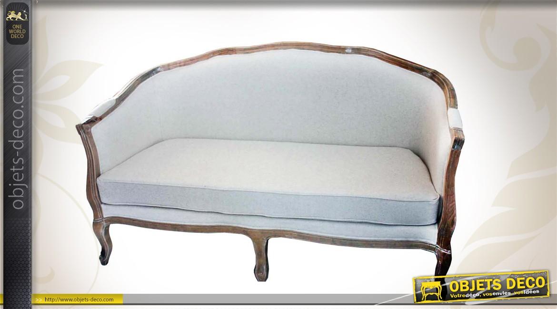 Canapé en bois et lin de style ancien