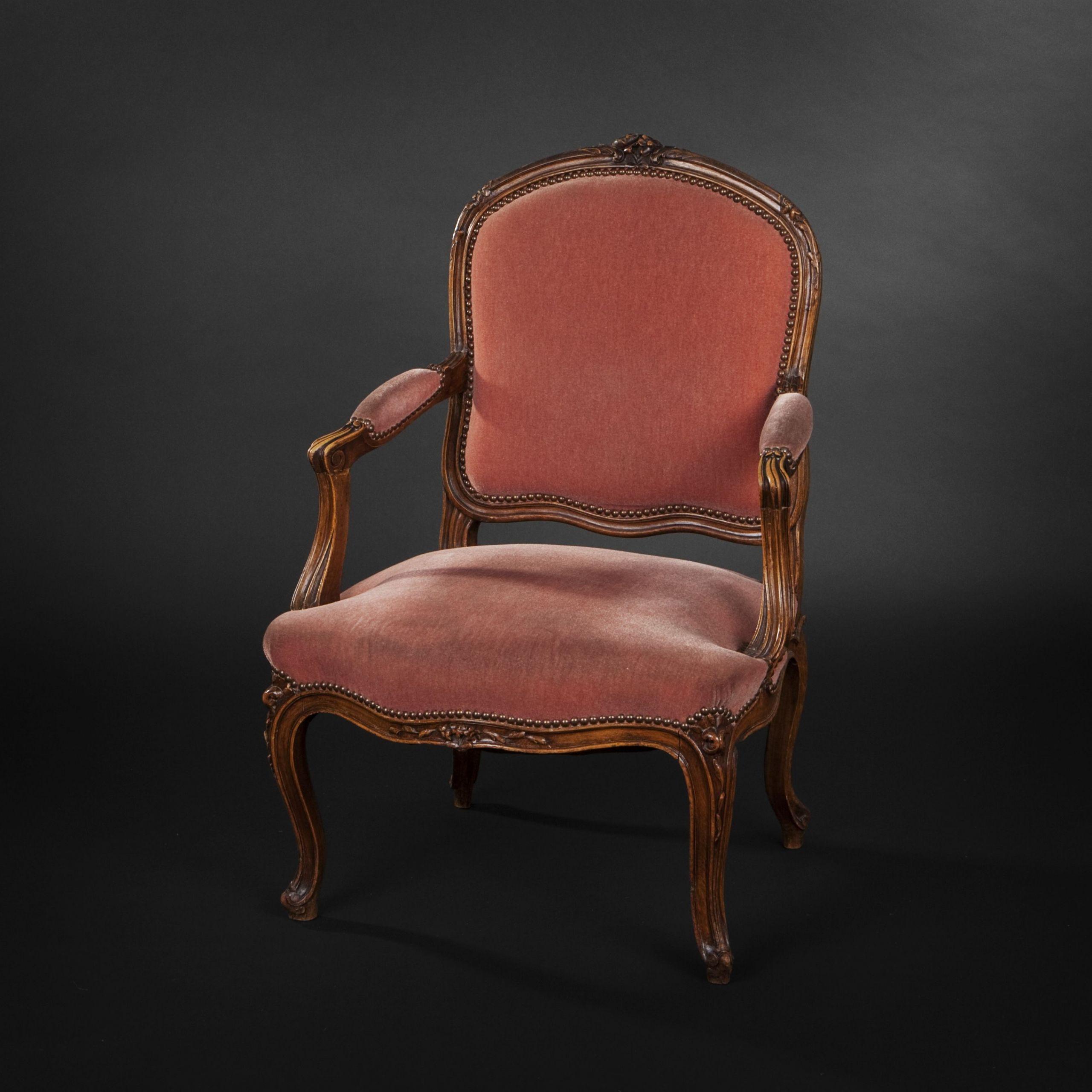 Canapé et 3 fauteuils de style Louis XV Tissu vieux rose