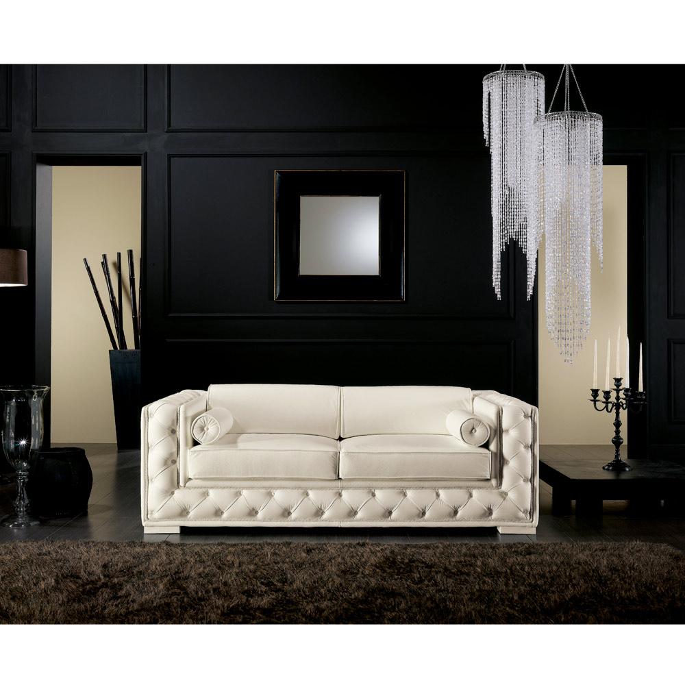 Canapé italien 2 places en cuir blanc de style classique