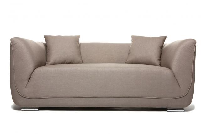 Canapé design deux places coton et lin taupe ALVIN Miliboo