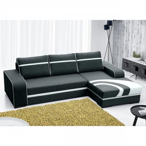 Canapé angle droit convertible en tissu polyester noir