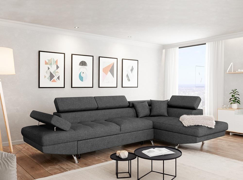 Canapé d Angle Droit RIO Convertible avec coffre en tissu gris