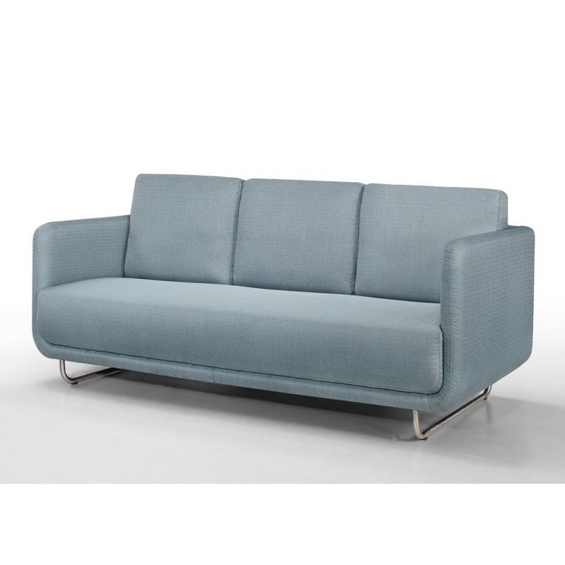 Canapé droit vintage cubique 3 places JONAZ en tissu bleu