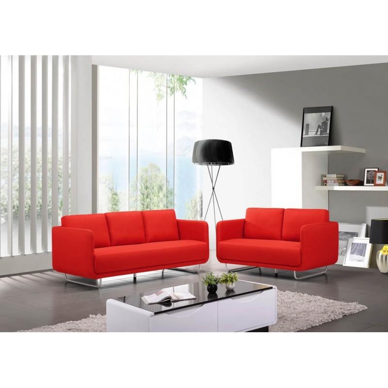 Canapé droit vintage cubique 3 places JONAZ en tissu rouge