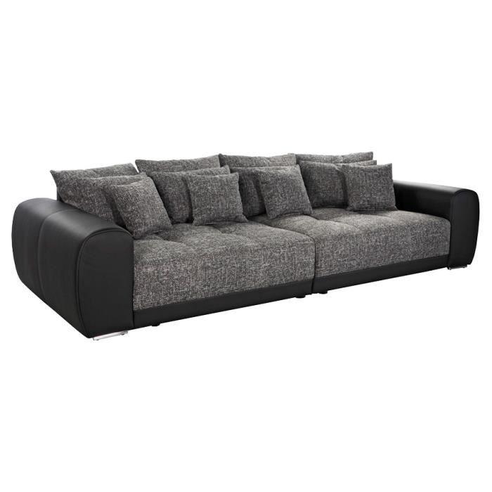 Grand canapé droit BYOUTY noir noir 4 places Achat