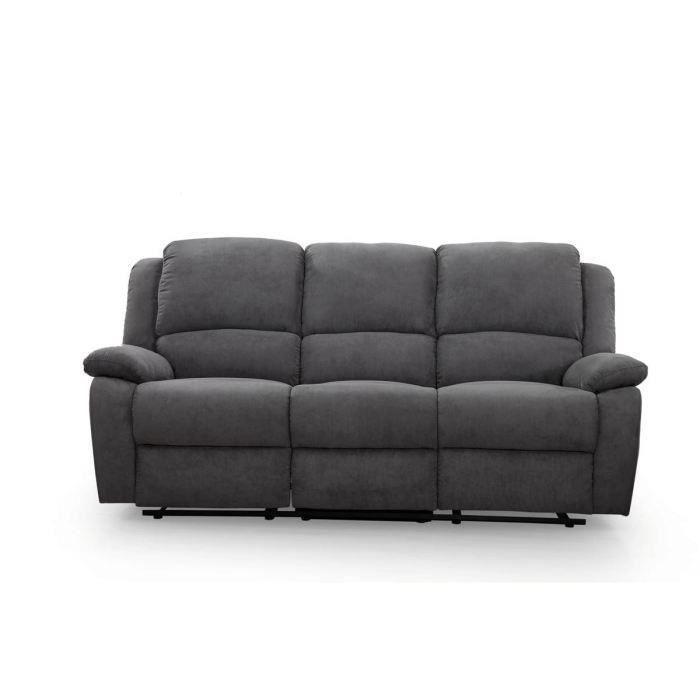 RELAX Canapé de relaxation droit 3 places Tissu gris