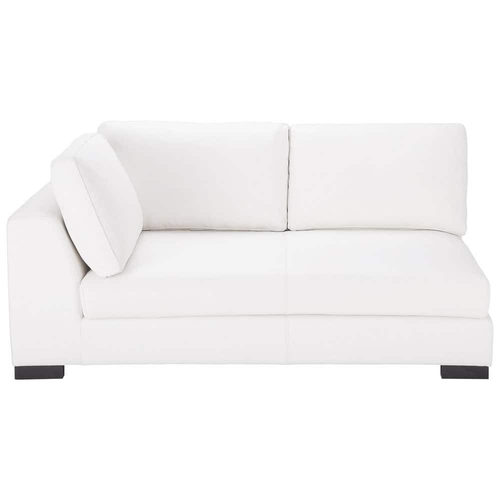 Canapé convertible modulable gauche en cuir blanc Terence