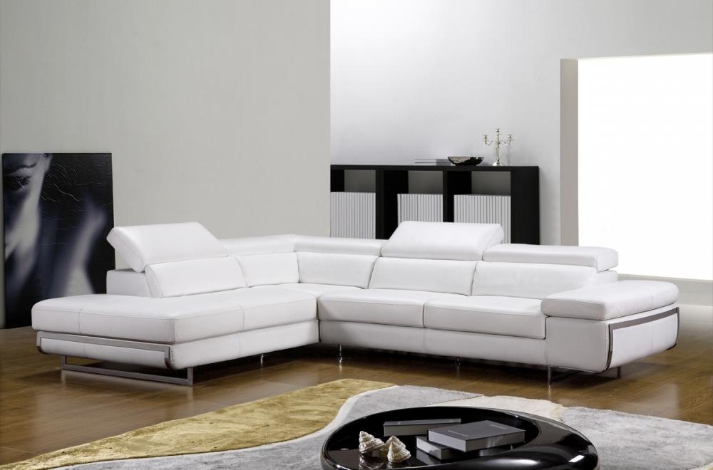 Canapé d angle en cuir italien 5 6 places guci blanc