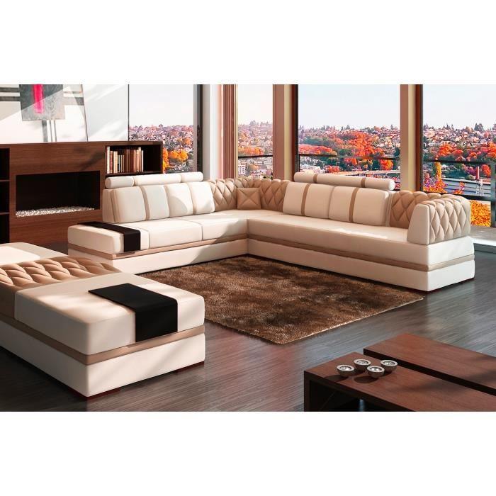 Canapé d angle en cuir italien 6 7 places RIVA blanc et