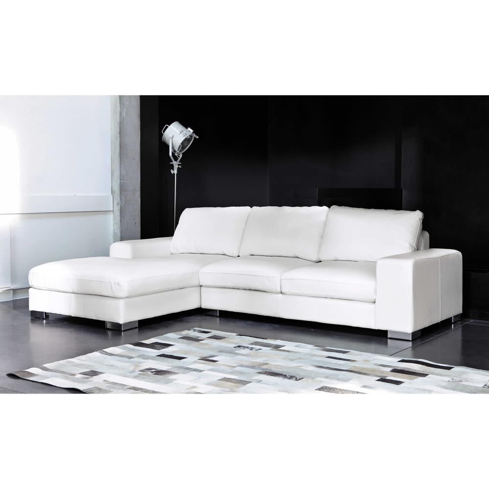 Canapé d angle gauche 5 places en cuir blanc New York