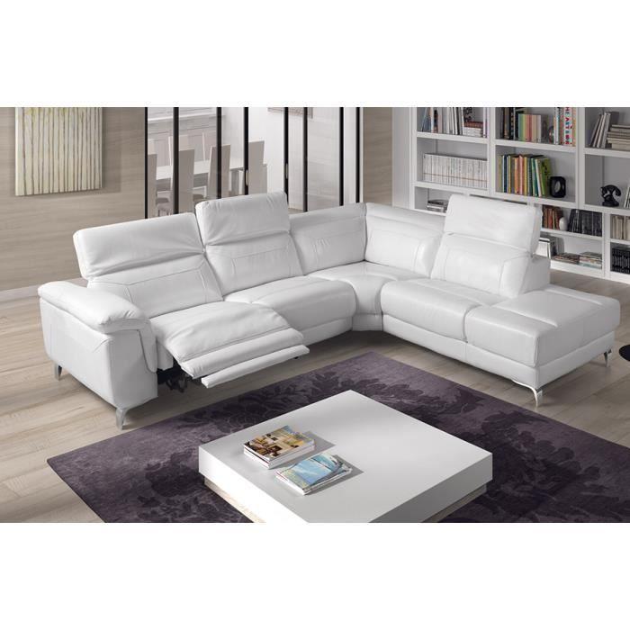 Canapé d angle relax électrique cuir blanc TUDOR Angle