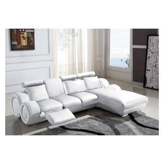 Canapé d angle relax en cuir blanc design VILNUS Achat