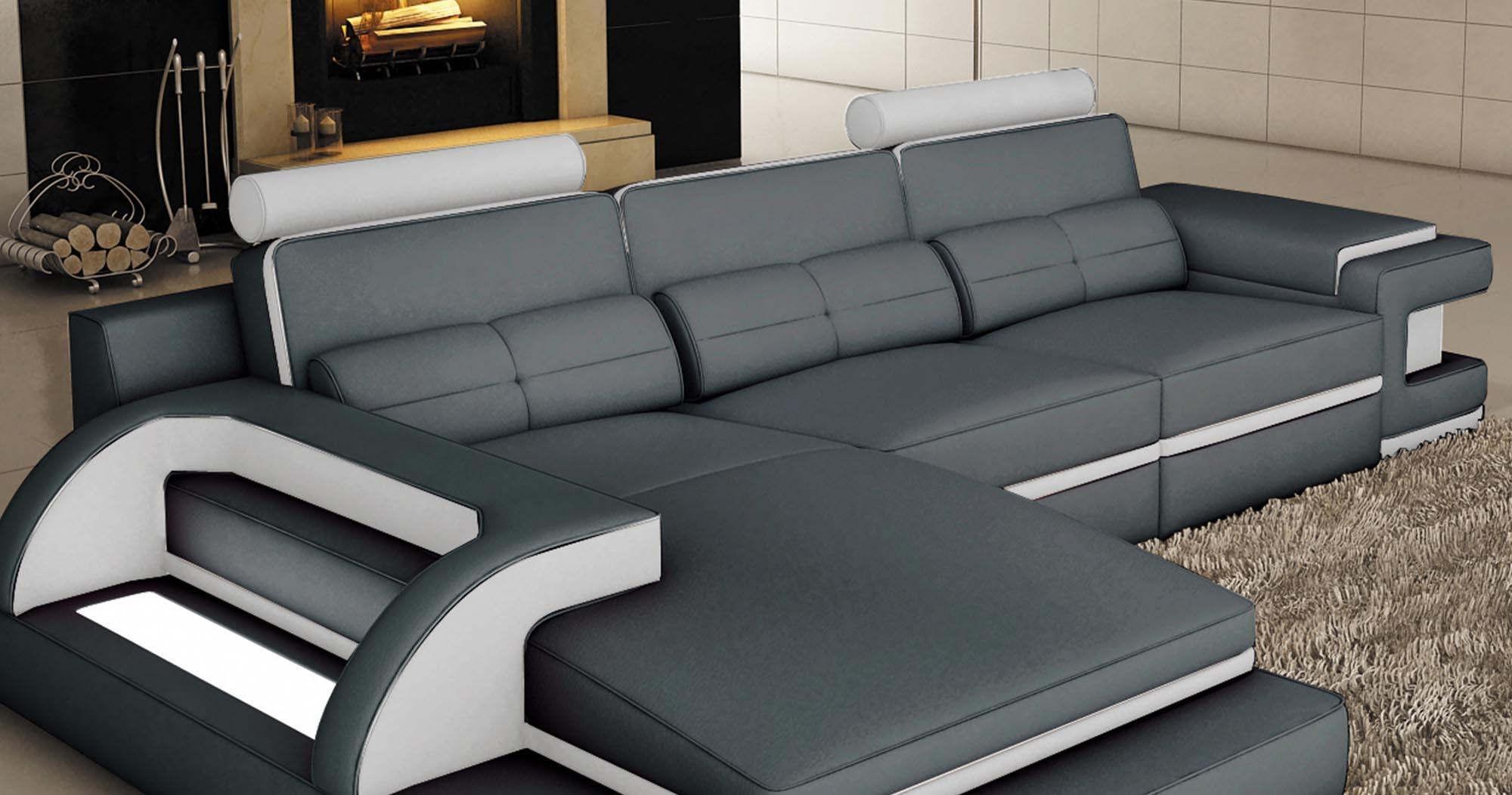 DECO IN PARIS 2 canape d angle cuir gris et blanc design