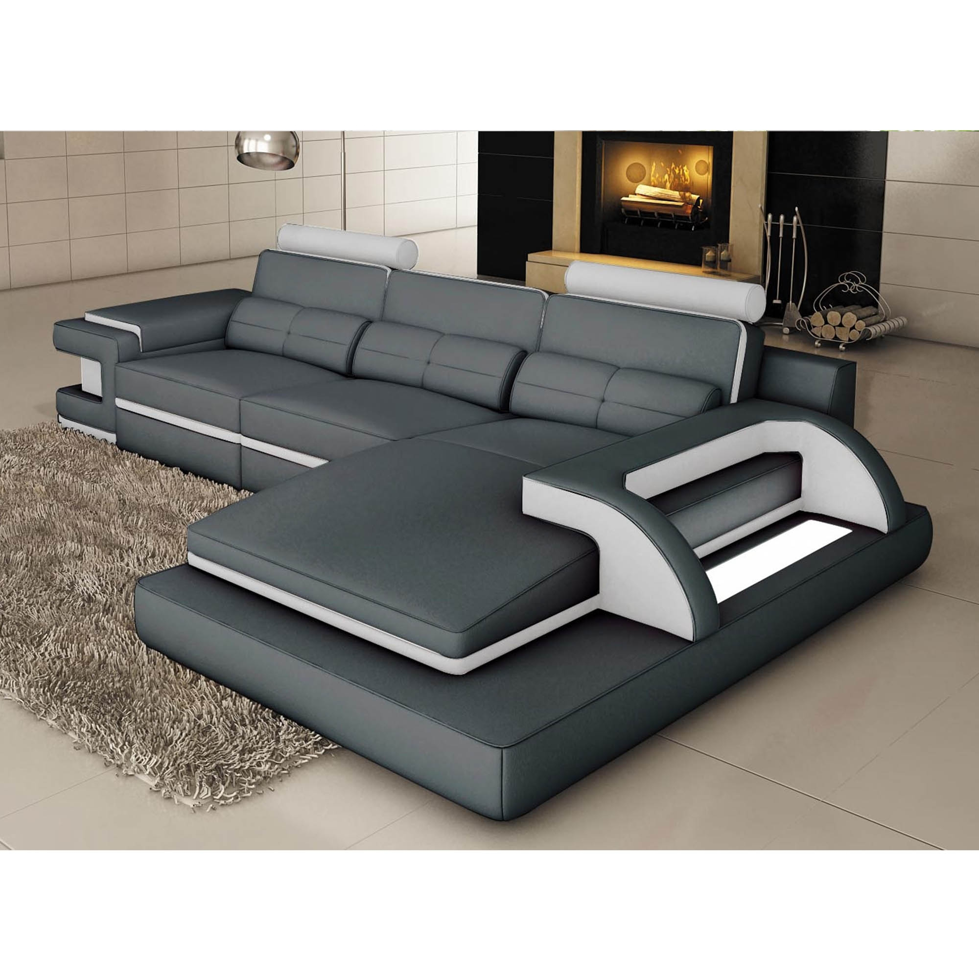 DECO IN PARIS Canape d angle cuir gris et blanc design