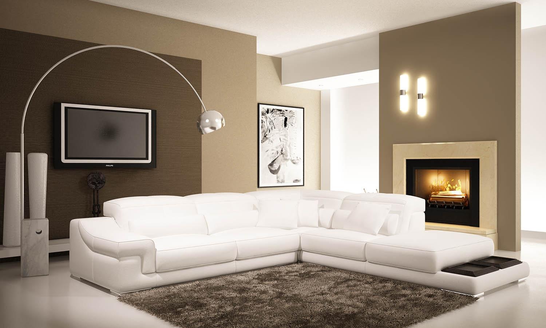 DECO IN PARIS Canape d angle en cuir blanc grissom