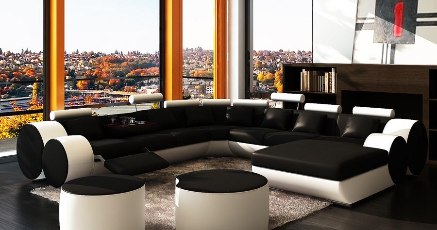 DECO IN PARIS Canape panoramique cuir noir et blanc roma
