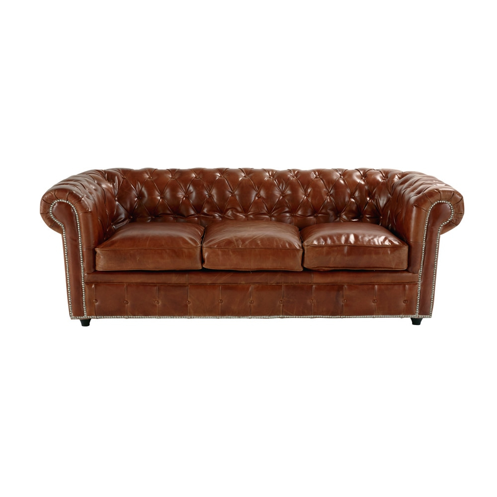 Canapé convertible capitonné Chesterfield 3 places en cuir